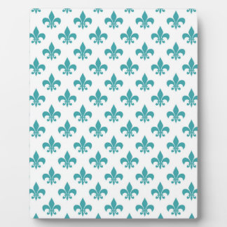 Vintage teal fleur de lis pattern plaque