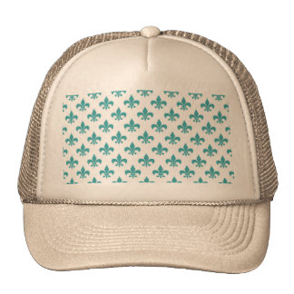 Vintage teal fleur de lis pattern trucker hat