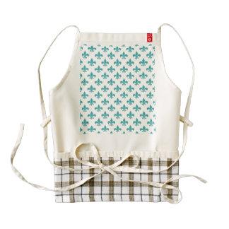 Vintage teal fleur de lis pattern zazzle HEART apron
