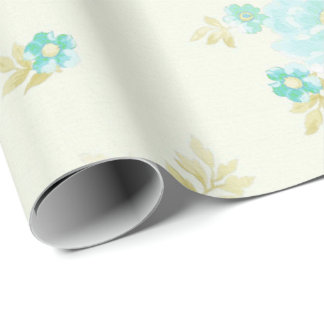Vintage teal floral pattern wrapping paper