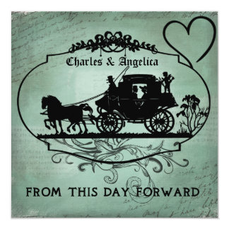 """Vintage Teal From This Day Forward Wedding Invite 5.25"""" Square Invitation Card"""