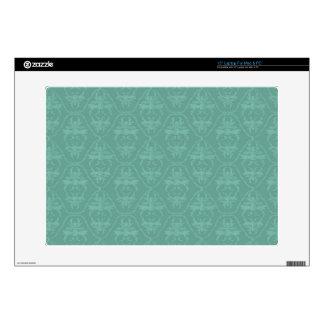 """Vintage Teal Green Turquoise Damask Pattern 15"""" Laptop Skins"""