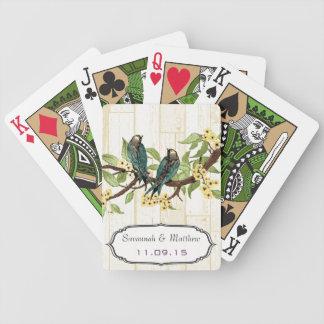 Vintage Teal Love Bird Wedding Gift Playing Card