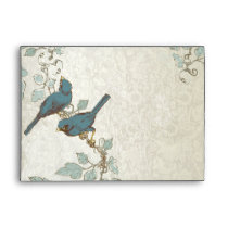Vintage Teal Love Birds Wedding Envelope