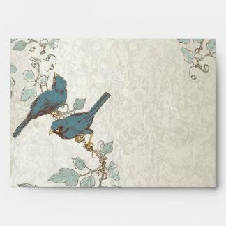 Vintage Teal Love Birds Wedding Envelope