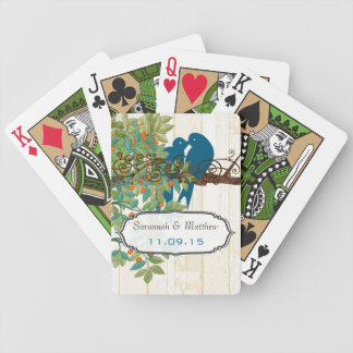 Vintage Teal Love Birds Wedding Gift Playing Card