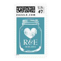 Vintage teal mason jar 49 cent wedding stamps