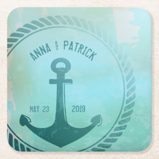 Vintage Teal Nautical Anchor Custom Wedding Favor Square Paper Coaster