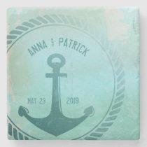 Vintage Teal Nautical Anchor Custom Wedding Favor Stone Coaster