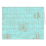 Vintage Teal Nautical Musical Sheet Card