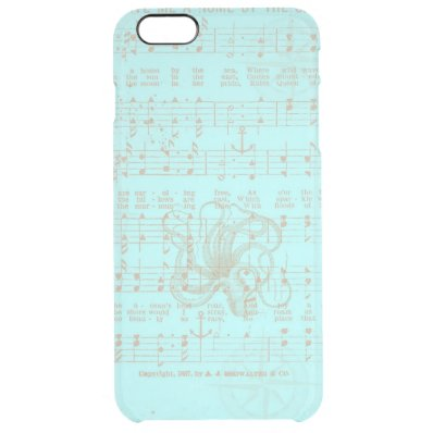 Vintage Teal Nautical Musical Sheet Clear iPhone 6 Plus Case