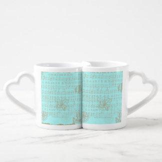 Vintage Teal Nautical Musical Sheet Couples Coffee Mug