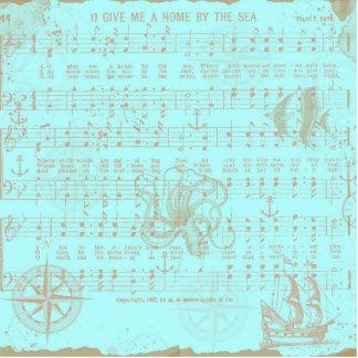 Vintage Teal Nautical Musical Sheet Cutout