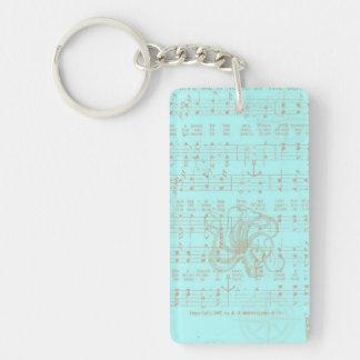 Vintage Teal Nautical Musical Sheet Double-Sided Rectangular Acrylic Keychain