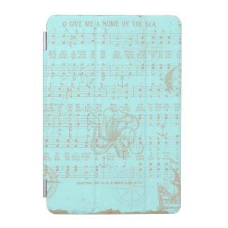 Vintage Teal Nautical Musical Sheet iPad Mini Cover