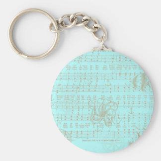 Vintage Teal Nautical Musical Sheet Keychain