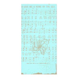 Vintage Teal Nautical Musical Sheet Customized Photo Card