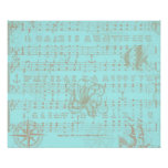 Vintage Teal Nautical Musical Sheet Poster