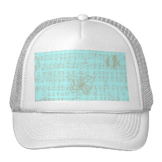 Vintage Teal Nautical Musical Sheet Trucker Hat