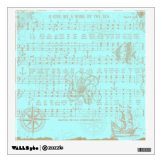Vintage Teal Nautical Musical Sheet Wall Decal
