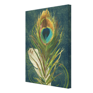 Vintage Teal Peacock Feather Gallery Wrap Canvas