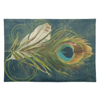 Vintage Teal Peacock Feather Cloth Placemat