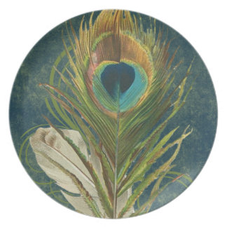 Vintage Teal Peacock Feather Dinner Plate