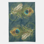 Vintage Teal Peacock Feather Kitchen Towels