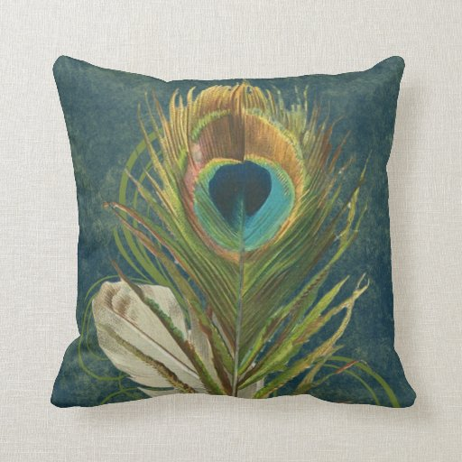 Vintage Teal Peacock Feather Pillows