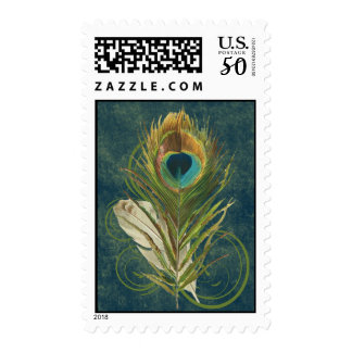 Vintage Teal Peacock Feather Postage