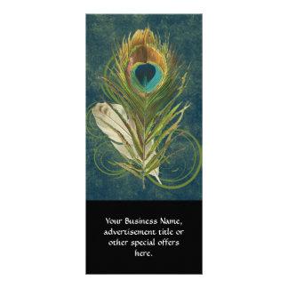 Vintage Teal Peacock Feather Rack Card