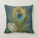 Vintage Teal Peacock Feather Throw Pillow