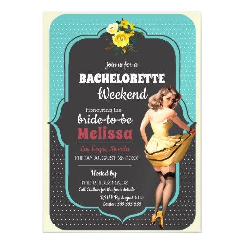 Vintage Teal Polka Dot Retro Pin Up Bachelorette Magnetic Invitation