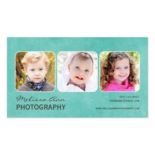 Vintage Teal Portrait Photographer Business Card