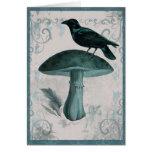 Vintage Teal Raven Mushroom Card