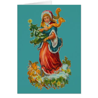 Vintage Teal Ribbon Christmas Card