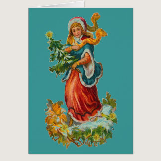 Vintage Teal Ribbon Christmas Card