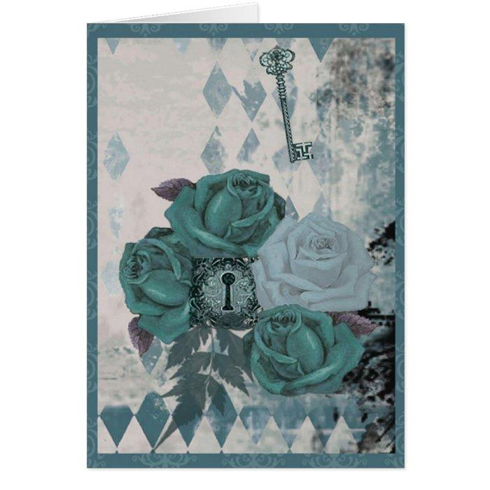 Vintage Teal Roses Card