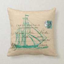 Vintage Teal Sailing Ship Nautical Pillow