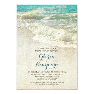 vintage teal sea beach bridal shower invitation