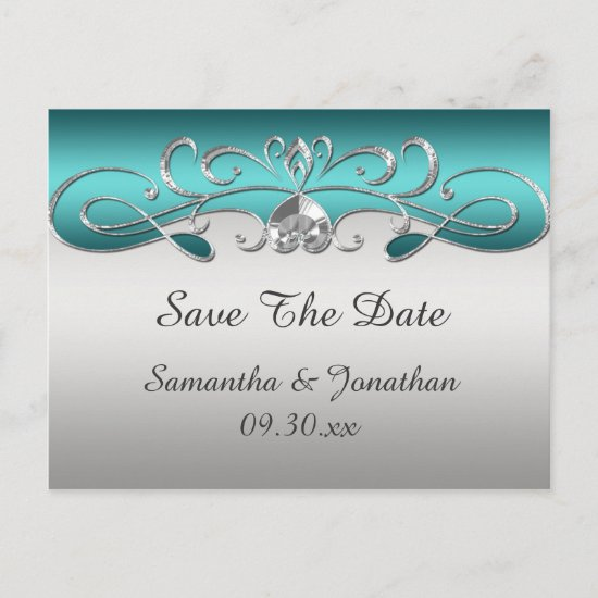 Vintage Teal Silver Ornate Swirls Save The Date Announcement Postcard