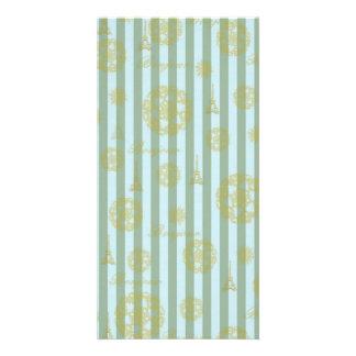 Vintage Teal Stripes Gold French Damask Pattern Card
