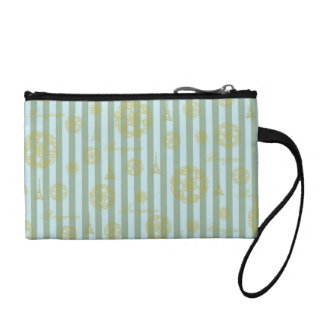 Vintage Teal Stripes Gold French Damask Pattern Coin Purse