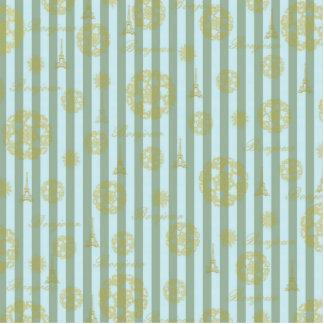 Vintage Teal Stripes Gold French Damask Pattern Cutout