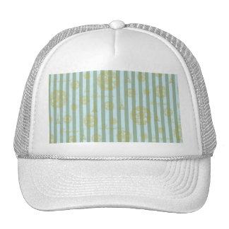 Vintage Teal Stripes Gold French Damask Pattern Trucker Hats