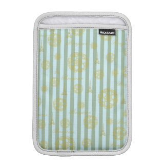 Vintage Teal Stripes Gold French Damask Pattern iPad Mini Sleeves
