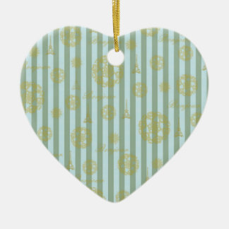 Vintage Teal Stripes Gold French Damask Pattern Double-Sided Heart Ceramic Christmas Ornament