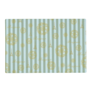Vintage Teal Stripes Gold French Damask Pattern Placemat at Zazzle