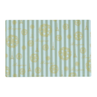 Vintage Teal Stripes Gold French Damask Pattern Placemat