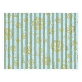Vintage Teal Stripes Gold French Damask Pattern Postcard